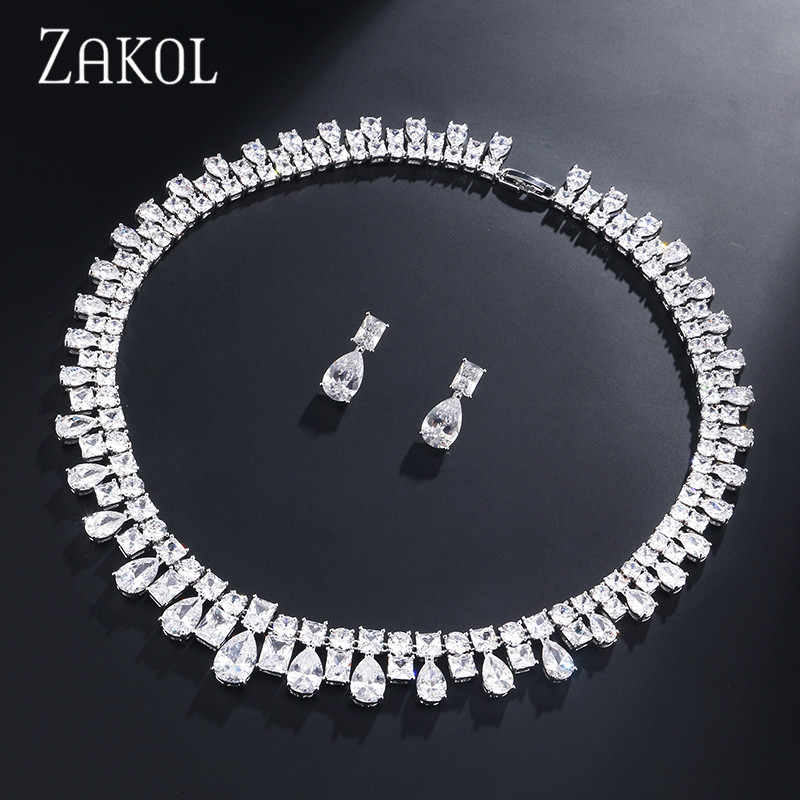 ZAKOL Luxury Necklace Set Square Water Drop Zirconia Earrings Bridal Wedding Jewelry Set For Evening Party