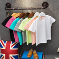 Children's clothing baby plain summer t shirt child basic shirt O-neck child black white cotton short-sleeve T shirt