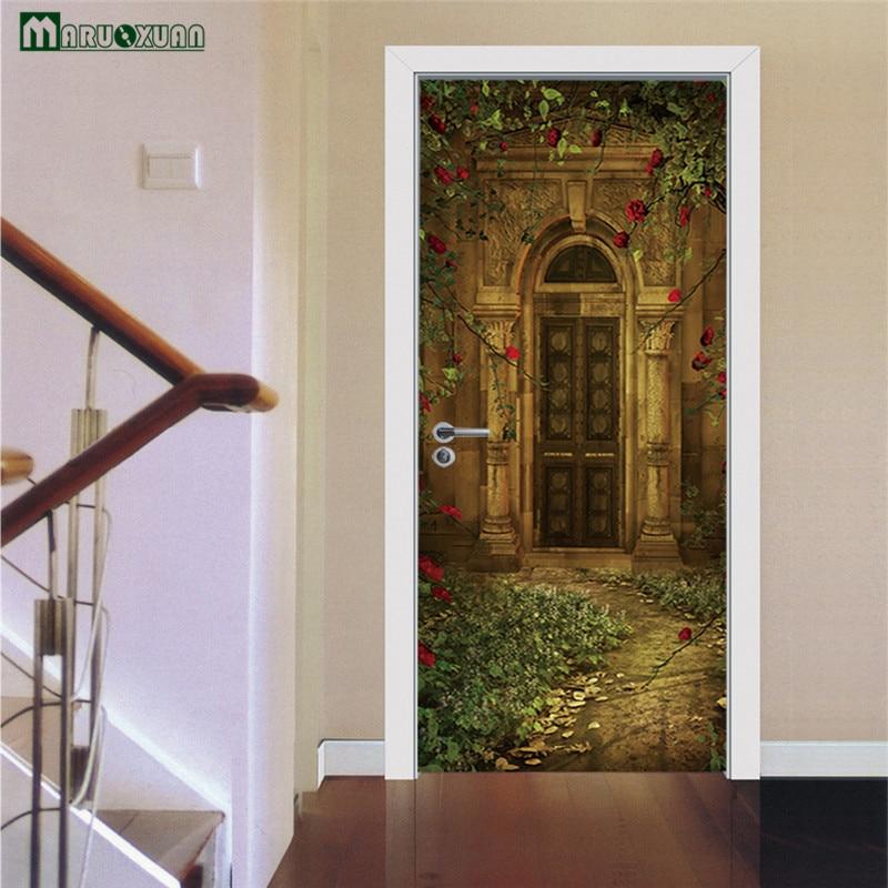 Maruoxuan 3D Door Paste European Style Villa Guest Sticker Living Room  Bedroom Door Creative PVC Decorative