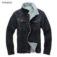 MORUANCLE Winter Men S Fleece Lined Denim Jackets Turn Down Collar Thick Warm Jeans Jackets Coats