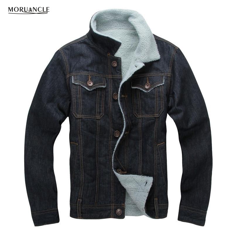 4e611b8564ea MORUANCLE Winter Men's Fleece Lined Denim Jackets Turn Down Collar Thick  Warm Jeans Jackets Coats For Male Size M-XXL. US $58.63