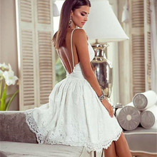 2019 Women Summer Sexy Lace Elegant Party Night Dress Vintage Backless White