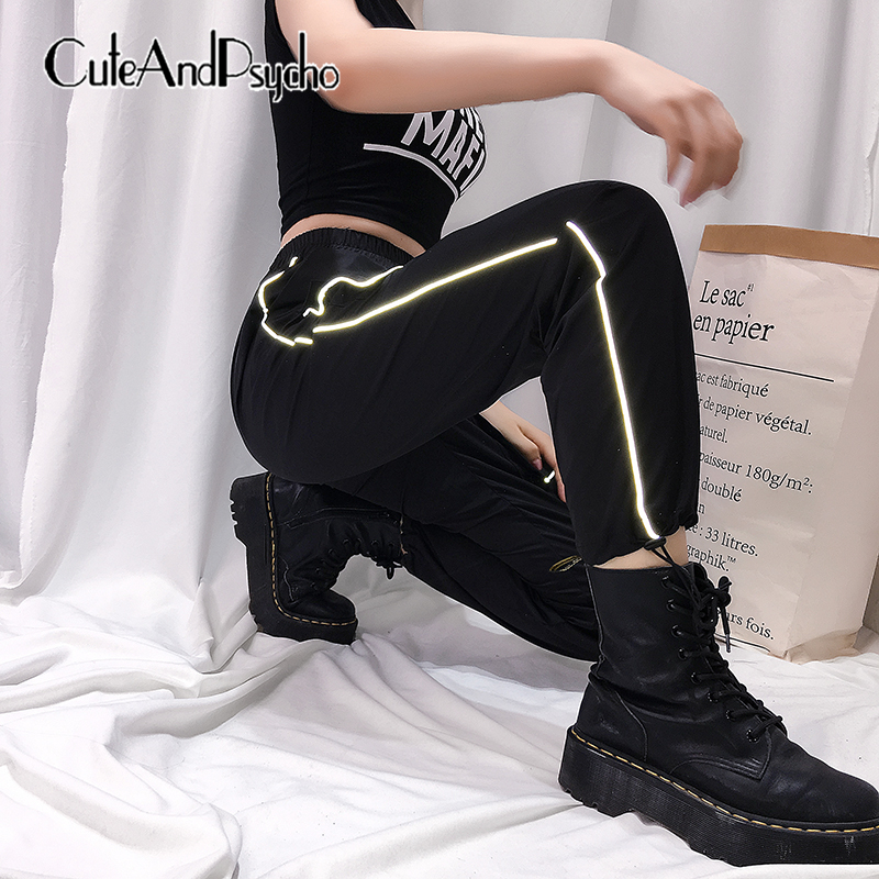 2019Reflective Strip Patchwork   Pants   Cargo High Elastic Waist Women Trousers Joggers Hip Hop feminina   Pants     Capris   Cuteandpsycho