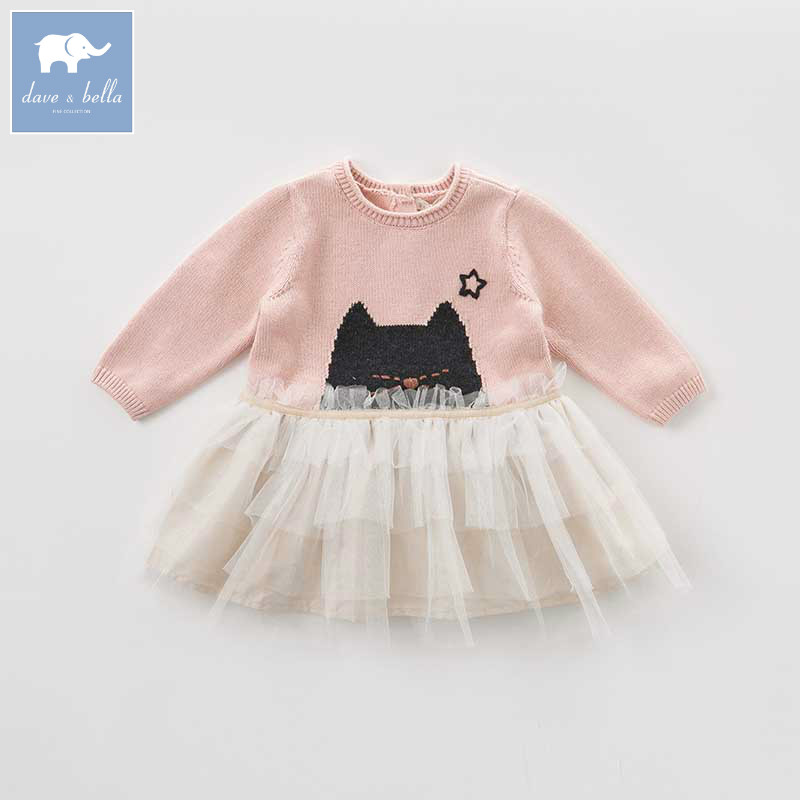 DB8976 dave bella baby Knitted Dress girls long sleeve autumn dresses kids mesh clothes children birthday party boutique dress цена