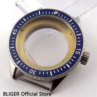 43mm Blue Bezel Sapphire Glass SS Transparent Watch Case Fit For ETA 2836 Automatic Movement Watch Cover C82