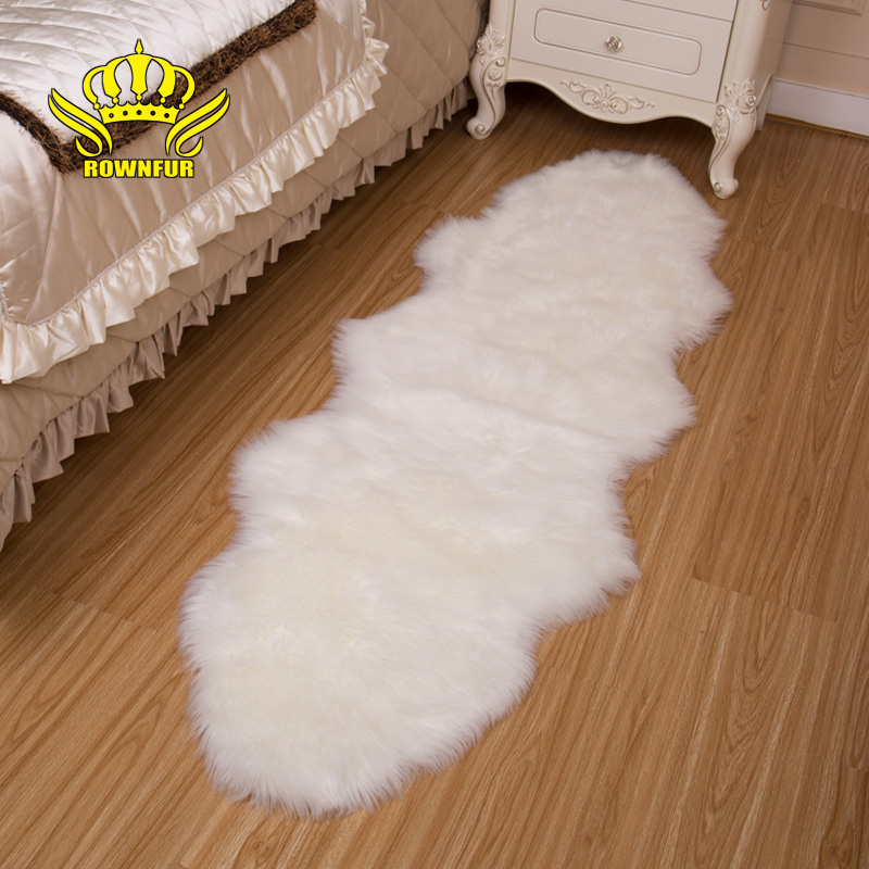 ROWNFUR Sheepskin Faux Fur Carpets Rugs For Home Bedroom Kids Living Room Chair Warm High Quality Non-slip White Gray Plush Mat