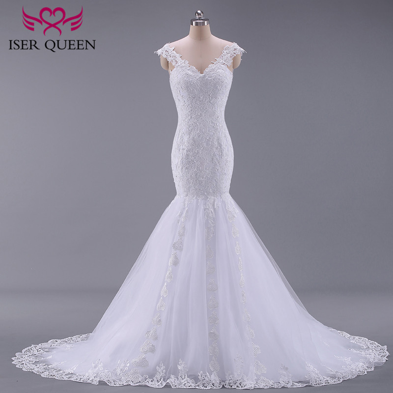 Image 2 - Pure White African Mermaid Wedding Dress  Short Cap Sleeve Hollow Plus size Embroidery Appliques Vintage Wedding Dresses W0036-in Wedding Dresses from Weddings & Events