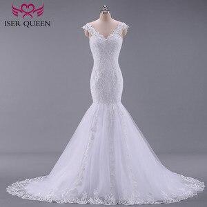 Image 2 - Puro branco africano sereia vestido de casamento manga curta boné oco plus size bordado apliques vestidos de casamento do vintage w0036