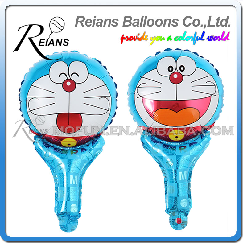 50pcs REIANS 51cm cute Anime cartoon Doraemon children handheld stick Party birthday aluminum foil air balloon Event toy gift