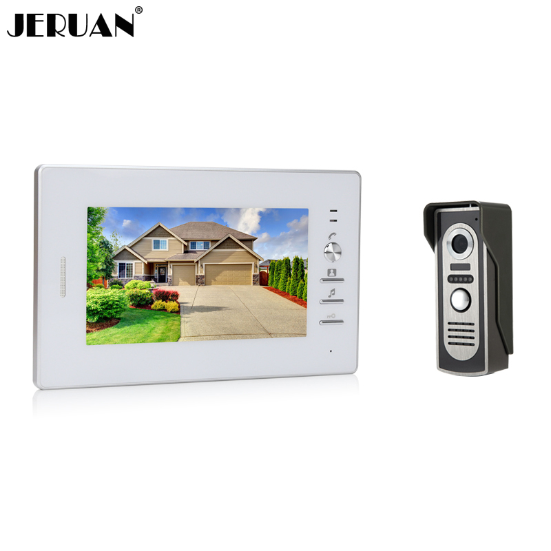 JERUAN 7`` LCD screen video doorphone sperakerphone intercom  system 1 monitor + 700TVL COMS camera  In Stock FREE SHIPPING