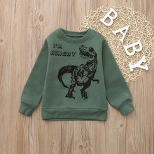 Children Kids Boys Dinosaur Letter Print Warm Tops Sweatshirt Pullover Clothes недорого