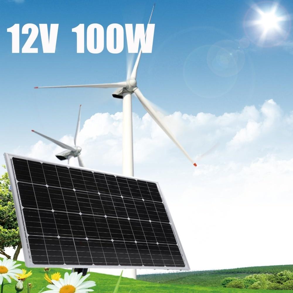 Universal 12V 100W Resistant Aluminum Frame Standard Monocrystalline Solar Panel Household Outdoor Solar Charging Device
