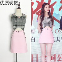 2017 summer baby Angela Baby star with the same type of hollowed out rivet, plaid pink sleeveless vest dress