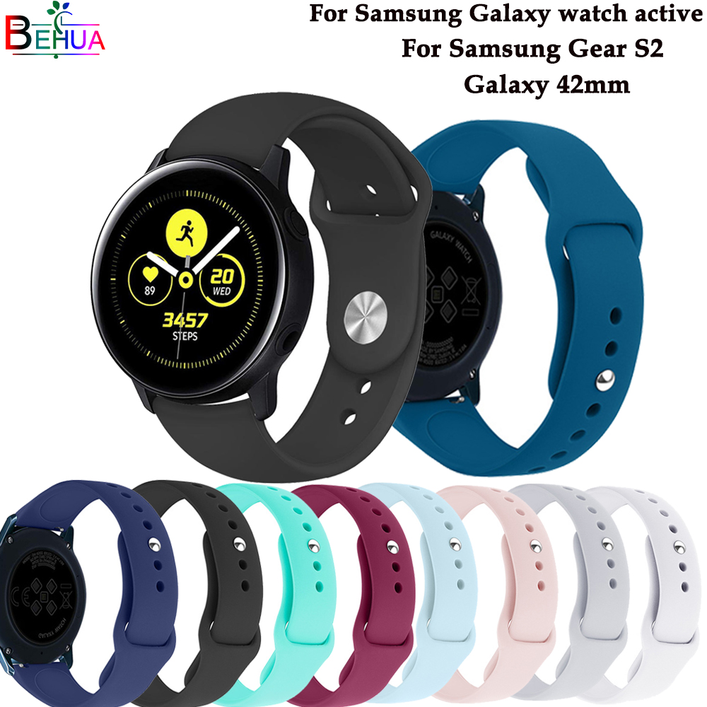 Galaxy Watch Active 2 Watch Band Origina Strap For Samsung Galaxy 42mm /Gear S2 Silicone Sport Wristband For Galaxy Watch Active