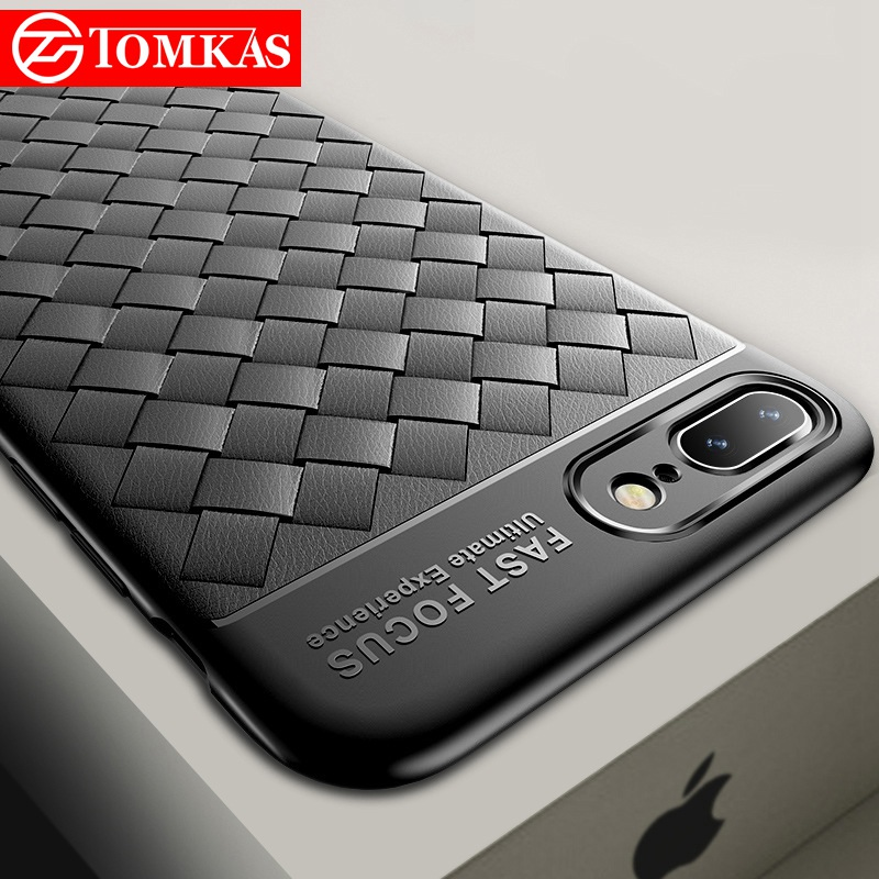 TOMKAS Grid Weaving Slim Case For iPhone 6S 8 7 Plus X Cover Cases Silicon TPU Luxury Phone Coque Case For iPhone 7 8 6 X