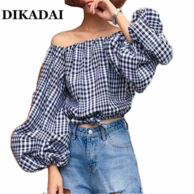 7a4caf702d87ef 2017 Off the Shoulder Blouse shirts Women Puff Sleeve Casual Summer S M Tops  Female Plus Size Blusas Clothing Party Wear Shirt