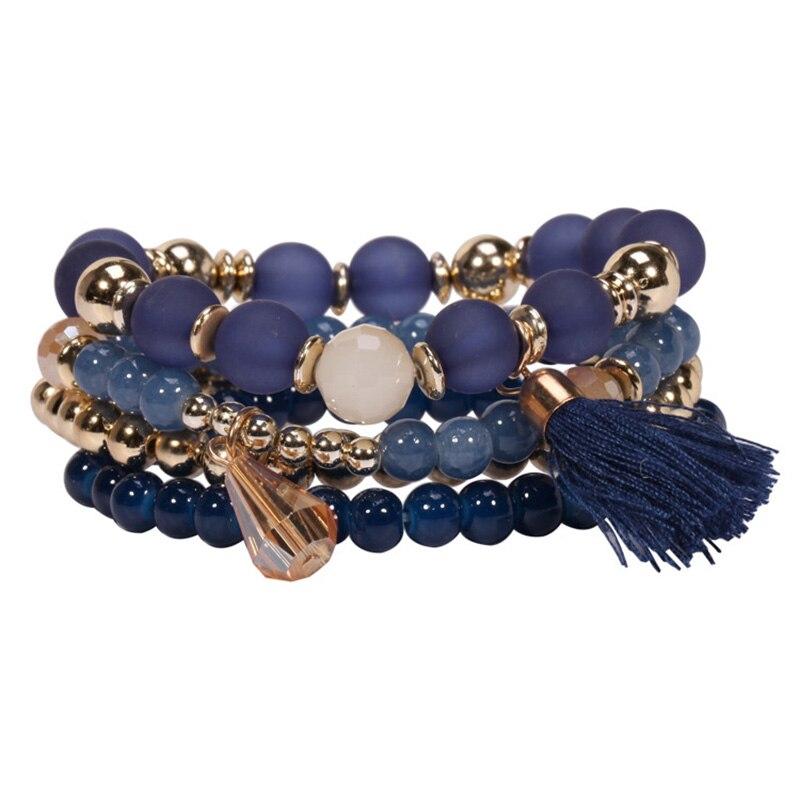 Multilayer Boho Beads Bracelet for Women 2018 Bohemia Statement Charm Bracelets Glass Beads Tassel Charm Femme Bijoux Gift