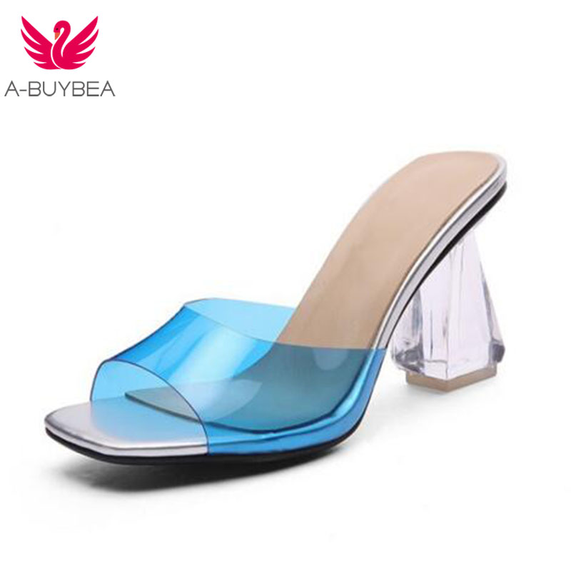 2de79d5eb1db Façons D été blanc buybea Porter Bleu Talon Deux jaune Haute Pantoufles A  Chaussures Mode Femmes ...
