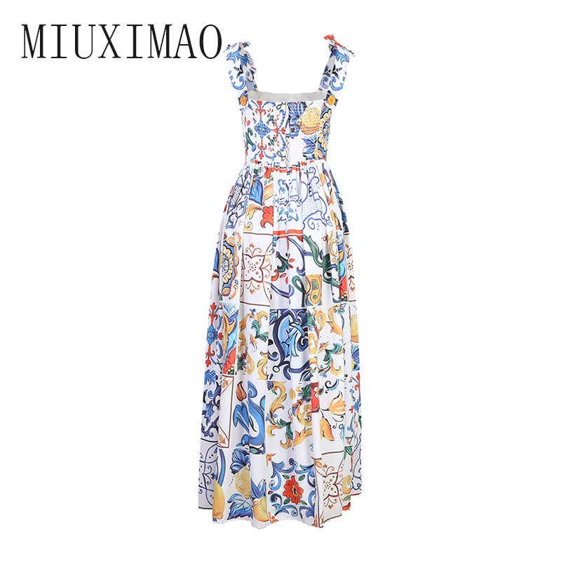 MIUXIMAO 2020 haute qualité nouvelle arrivée décontracté et mode col carré sans manches noeud a-ligne cheville-longueur robe mignonne femmes