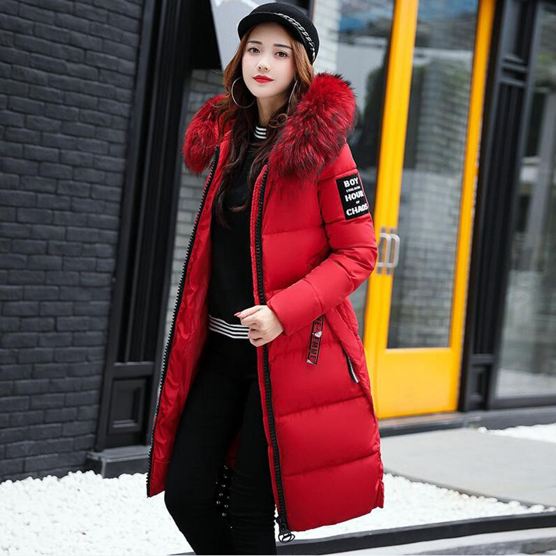 Brieuces new Big fur winter coat thickened parka women slim long winter down cotton coat Plus Size parka down jacket women in Parkas from Women 39 s Clothing
