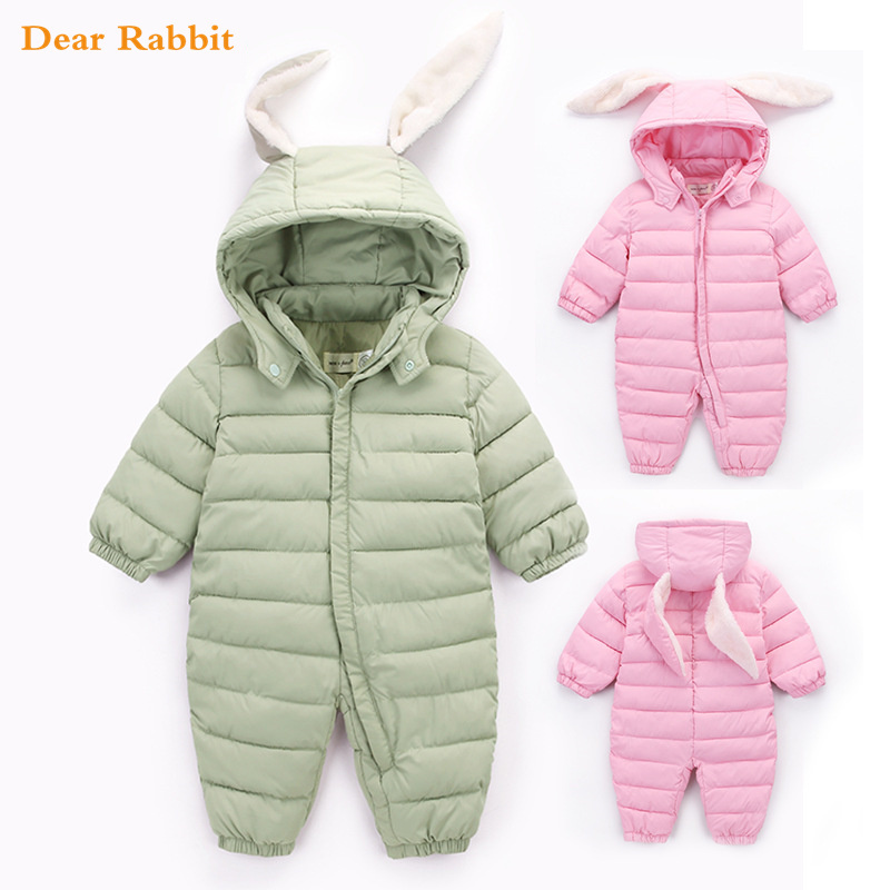 2018 Autumn Winter Cute Jumpsuit Baby Newborn Snowsuit Boy Warm Romper Down Cotton Girl clothes Bodysuit hooded coat jacket kids