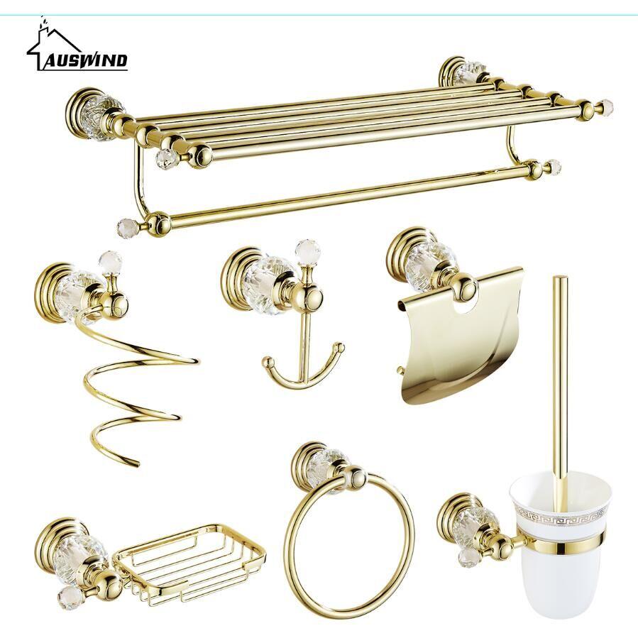 Brass bathroom accessories sets - Antique Gold Polished Bathroom Accessories White Crystal Bath Decoration Bathroom Hardware Set Solid Brass Bathroom Products