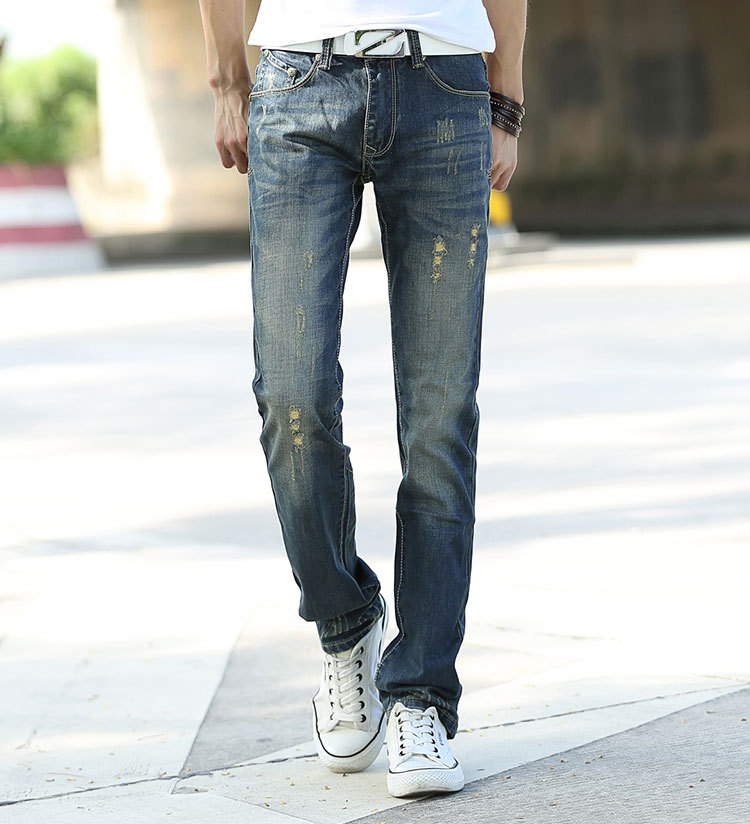 2015 New Summer Mens Jeans Fashion Denim Famous Cotton Casual Straight Ripped Jeans Men men s