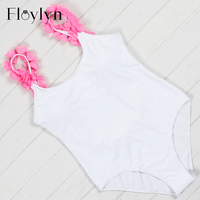 Floylyn Floral Swimwear 2017 Women One Piece Swimsuit Backless Bodysuit White Beach Bathing Suit Swim Wear