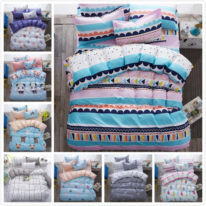2018 Creative Stripe Cotton 3/4 pcs Bedding Set 150x200 180x220 200x230 220x240 Duvet Cover Kids Child Bed Linen King Queen Size