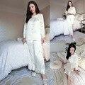2017 Новых женщин высокого класса Реального шелковые пижамы белый Пижамы утолщение Реальные шелковой Атласной Ночной Рубашке Из Двух Частей Набор 1011