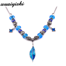 Necklace Womens New Pendant Fashion Silver blue Leaves Ms. Gift Charm Retro Hot Sale Beads Simple Latest Gifts 2019