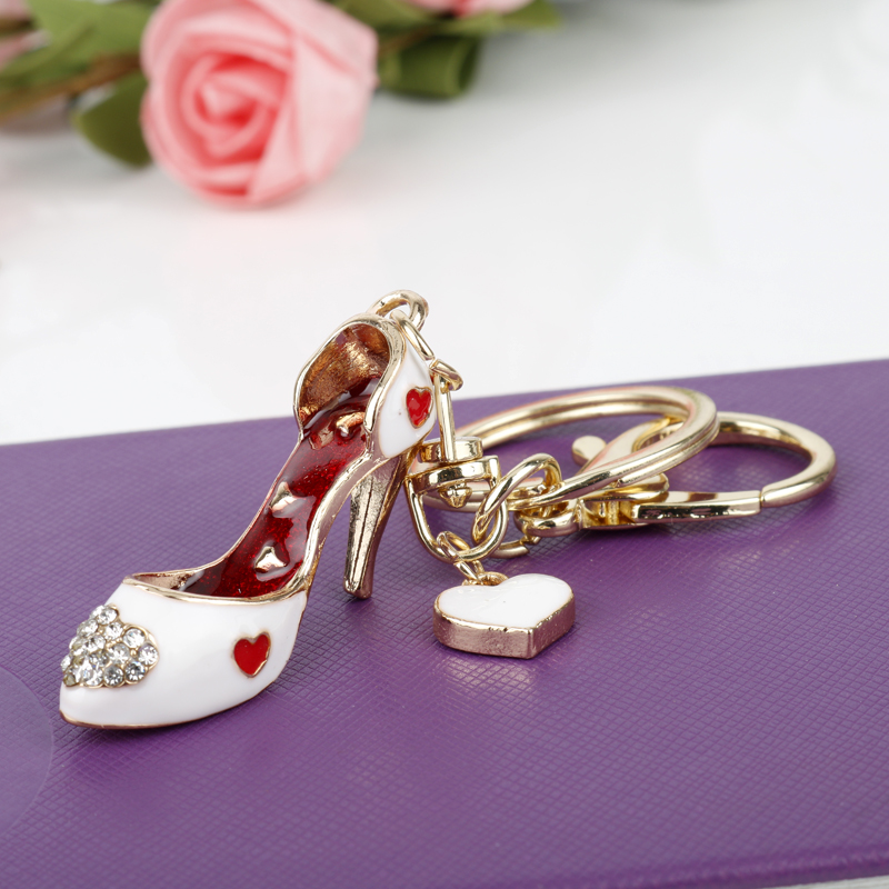 MQCHUN Fashion Women Gilr Bag Charms Keychain Car Keys Holder Keyring Crystal High Heel Shoes Key Chains Jewelry Gifts-50