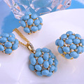 Luxurious Turquoise Stones Jewelry Sets Big Long Pendants Necklace Max Brincos Rings French Hooks Earrings Women Party Bijoux