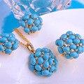 Pedras Turquesa Conjuntos de Jóias de luxo Big Longo Pingentes Colar Max Brincos Anéis Ganchos Francês Brincos Mulheres Partido Bijoux