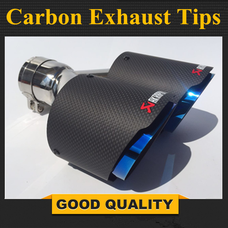 1PC: Inlet 51mm 54mm <font><b>57mm</b></font> 60mm 63mm Outlet 89mm 101mm Car Akrapovic Carbon Fiber <font><b>Exhaust</b></font> <font><b>Tip</b></font> Dual <font><b>Tips</b></font> Noses End Pipe Blue Burnt image