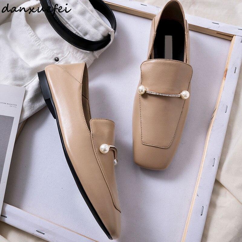 3 Color women's genuine leather slip on flats loafers brand designer leisure soft comfortable espadrilles ballerinas shoes sale
