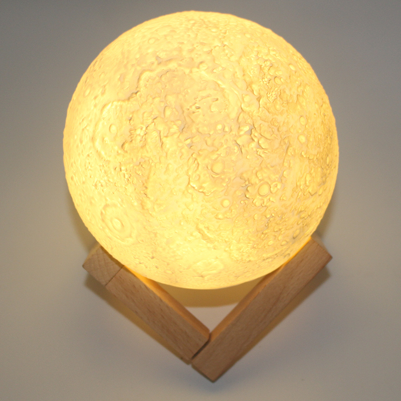 Z30 Rechargeable 3D Print Moon Lamp 3 Color Change Button Switch Bedroom Bookcase Night Light Home Decor Creative Gift