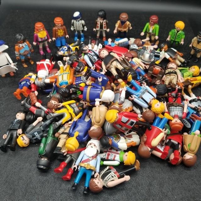 Случайный 10 шт./лот Плеймобил, 7 см Фигурки Симпатичные игрушки для мальчиков и девочек, модель куклы Коллекционные игрушки для детей на продажу X086