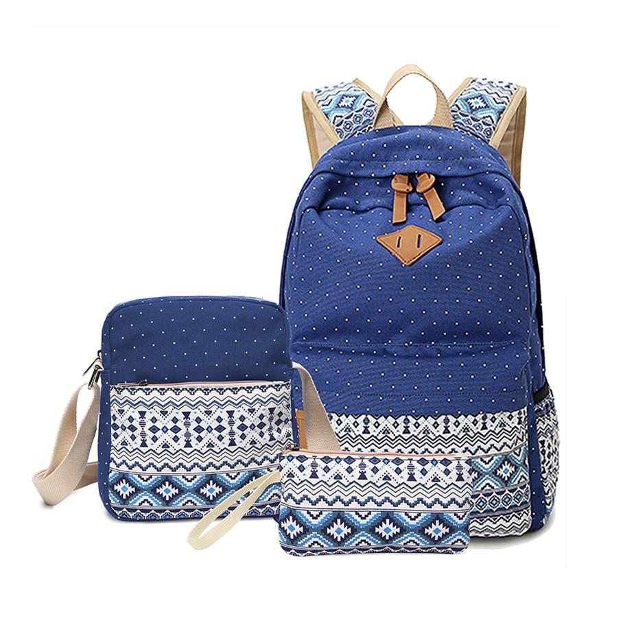 2017 vintage school bags for girls kids bag canvas backpack women bagpack children backpacks dot shoulder bags blue pencil case