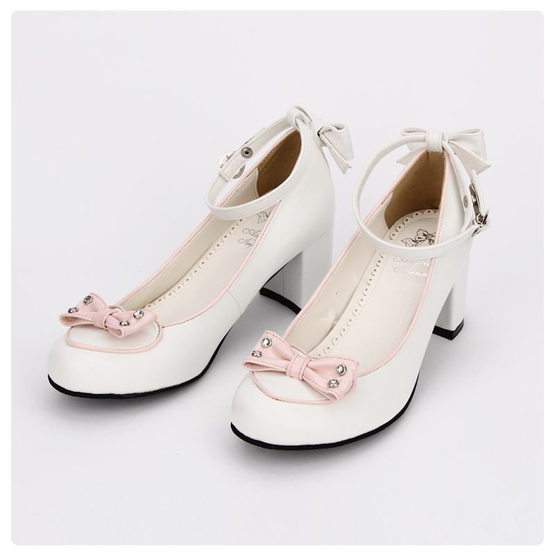 pink Ciel pink Élégant White Pu Arc Soirée And Talon De Pompes Made Chunky Chaussures Doux Princesse Printemps custom Noir Lolita White Cosplay pu 2018 Pl Haut wHypCaqH