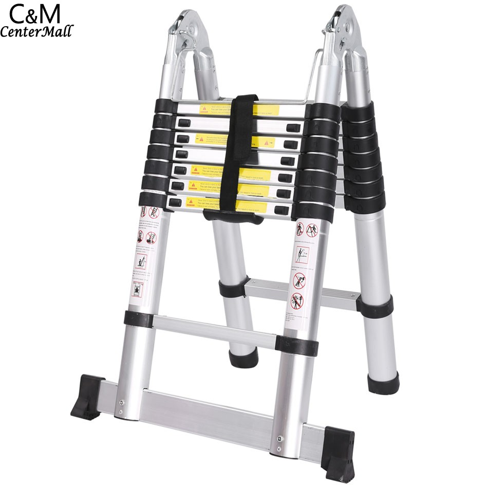 Ancheer 5M 16 steps Multipurpose Aluminum Alloy Double Ladder Telescopic Style Folding Extenable Ladder 2 5m 2 5m aluminum telescopic ladder with joint multifunctional aluminum alloy articulated telescopic ladder