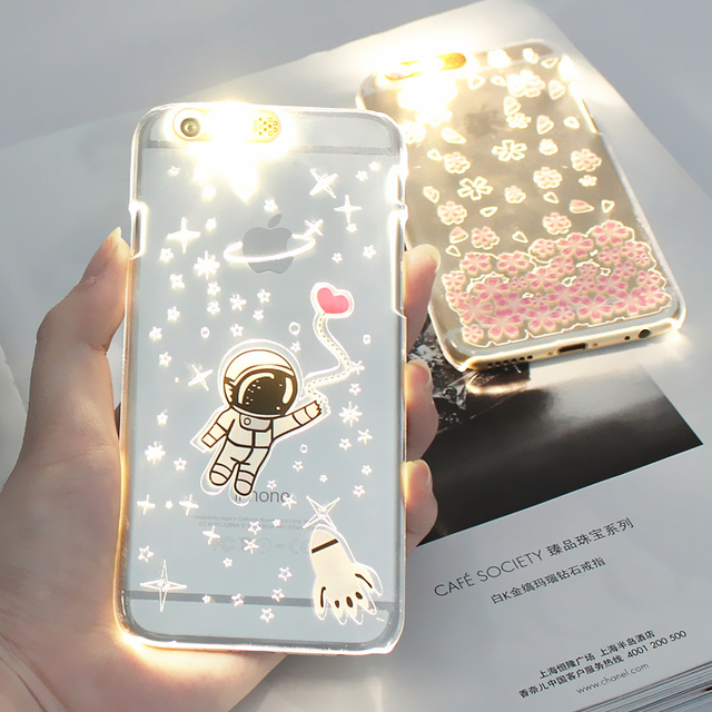 buy online 79afc df2c8 US $4.92 |Fashion PC Flash Up light Led Phone Case Shell Cover for iPhone6  6s 5 5s 6plus Capa Shield SE Sakura Astronaut Releif Anti Skid on ...