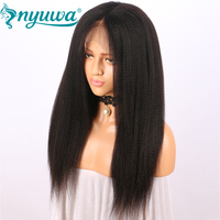 NYUWA Kinky Straight Full Lace Wigs With Baby Hair Pre Plucked Brazilian Remy Hair Coarst Yaki Human Hair Wigs Natural Color