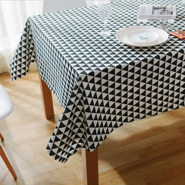 Black White Striped Tablecloths Fresh Style Decorative Elegant Waterproof  Tea Table Cloth High Quality Cotton Linen