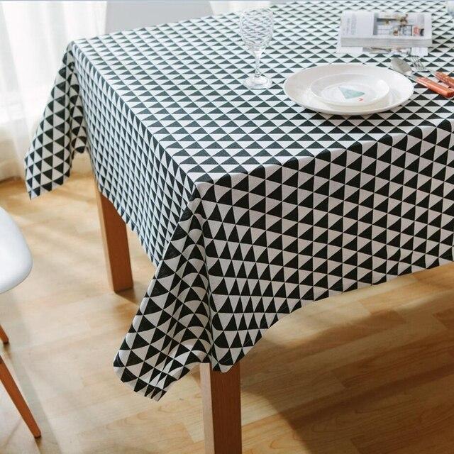 Hitam Putih Striped Taplak Meja Segar A Dekoratif Elegan Katun Linen Tahan Air