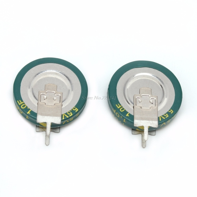 2 Pcs Universal 5.5V 1.0F Super Capacitor V-Type Button Smart 5mm Capacitance