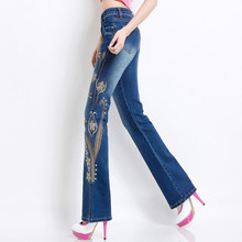 Spring and Autumn High waist Micro la Self-cultivation Was thin Wild Elasticity Embroidery jeans