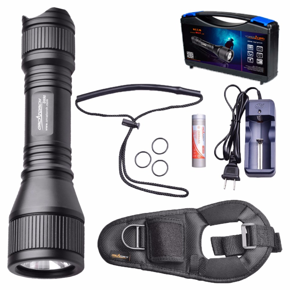 ORCATORCH D550 970LM Scuba Diving Flashlight LED Cree XM-L2(U4) Underwater Torch Light for Submarine