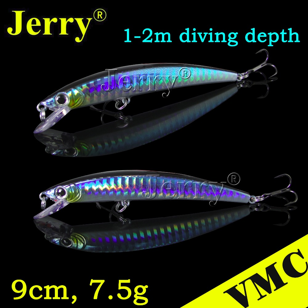 Jerry 1pc crystal minnow 9cm 7.5g VMC hook best shallow diving floating Japan jerk bait fishing lure plug hard bait blue export prefessional fishing lure minow hard bait 9cm 30g 3 vmc hook laser scale body inside steel balls for every water depth