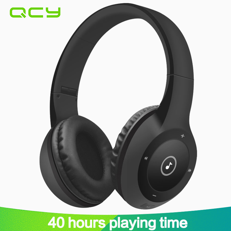 2017 QCY J1 Wireless Bluetooth Headphones Noise Cancelling Headset gamer Hifi 3D Stereo Sound with Microphone for all phones PC souyo bt501 wireless bluetooth headphones stereo sports headphones portable foldable headphones with microphone for phones pc